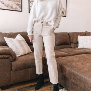 Linen beige straight leg pants